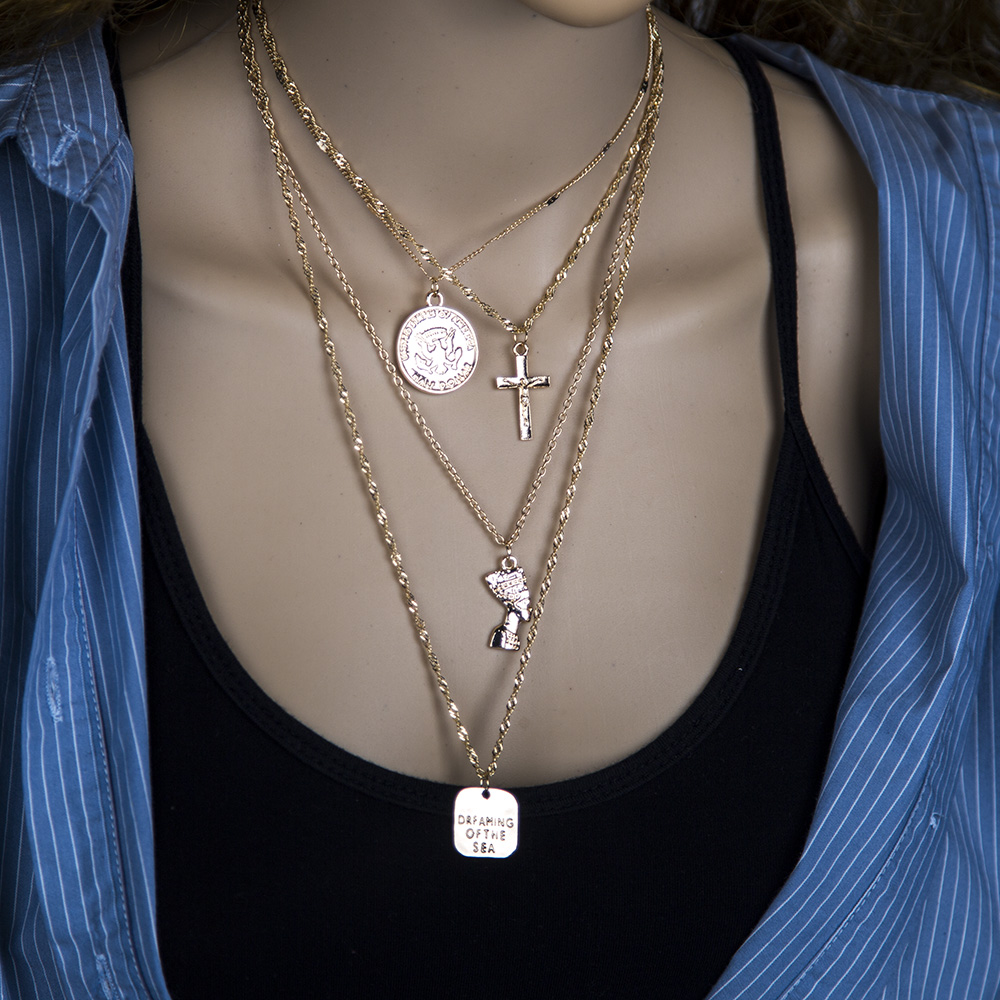 Simple multilayer pharaoh head cross pendant necklace rose coin square sweater chain NHBQ256458