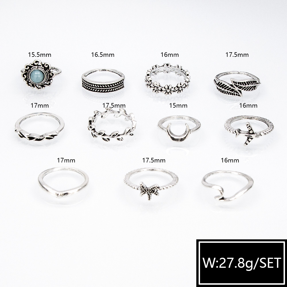 new retro combination fashionable diamond carved star ring set wholesale NHBQ256921