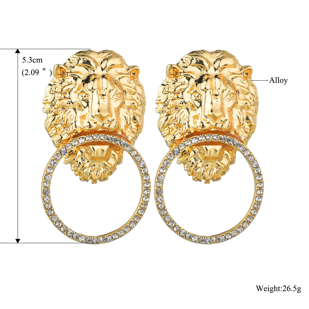 exaggerated lion head geometric retro style personality stud earrings for women NHBQ258376