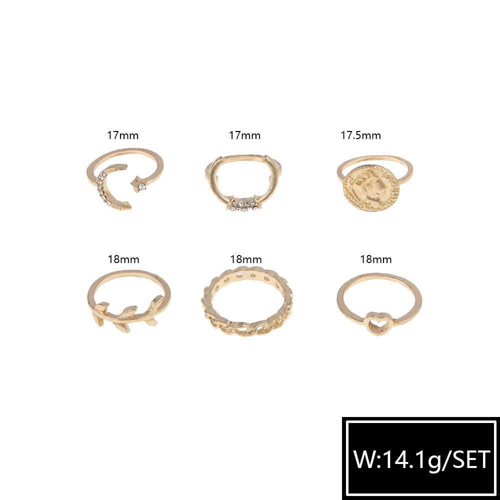Hot selling fashion diamond moon love leaf six-piece rings set NHBQ258942