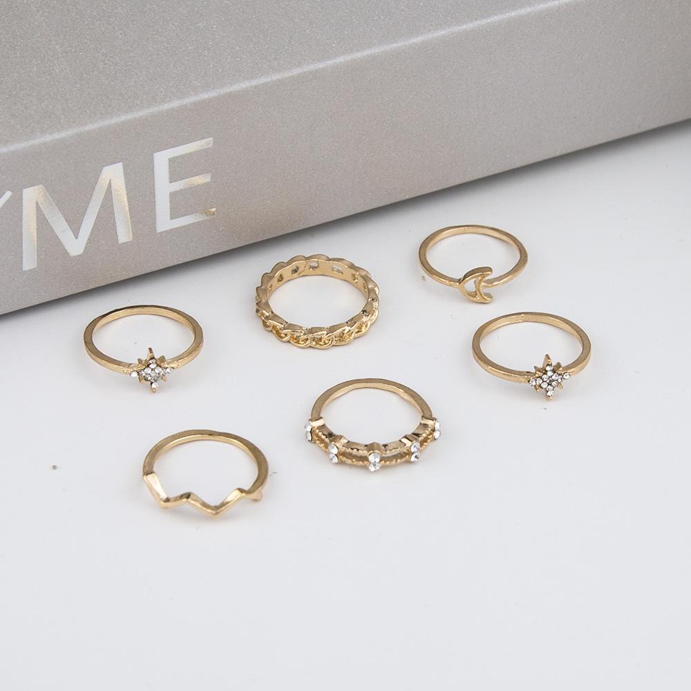 Hot selling fashion creative simple retro alloy star diamond rings set NHBQ258939