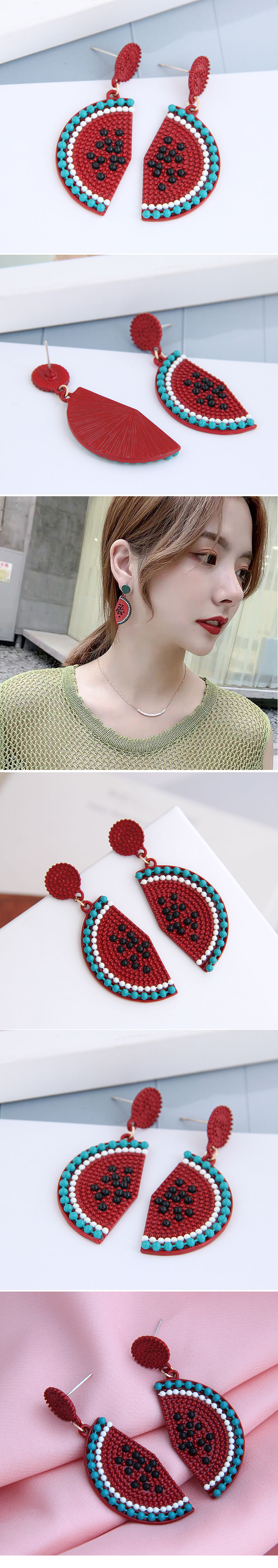 925 Silver Needle Korean Fashion Sweet Concise Fruit Watermelon Personality Earrings NHSC260328