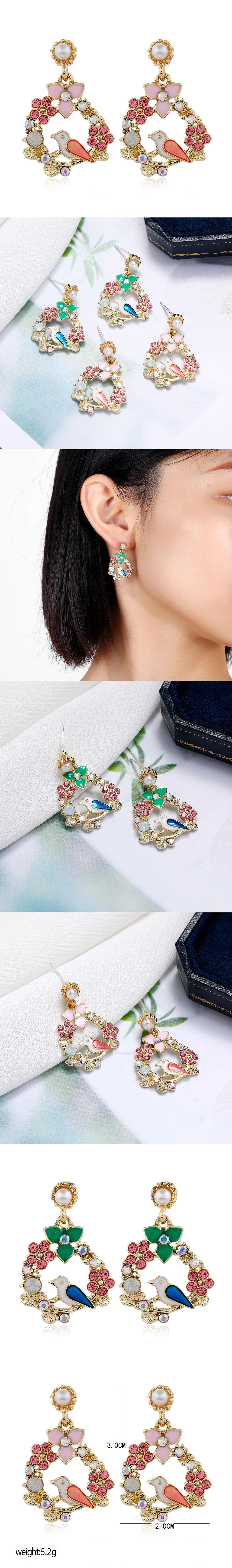 Korean fashion  sweet OL metal concise bird flower scent earrings NHSC260324