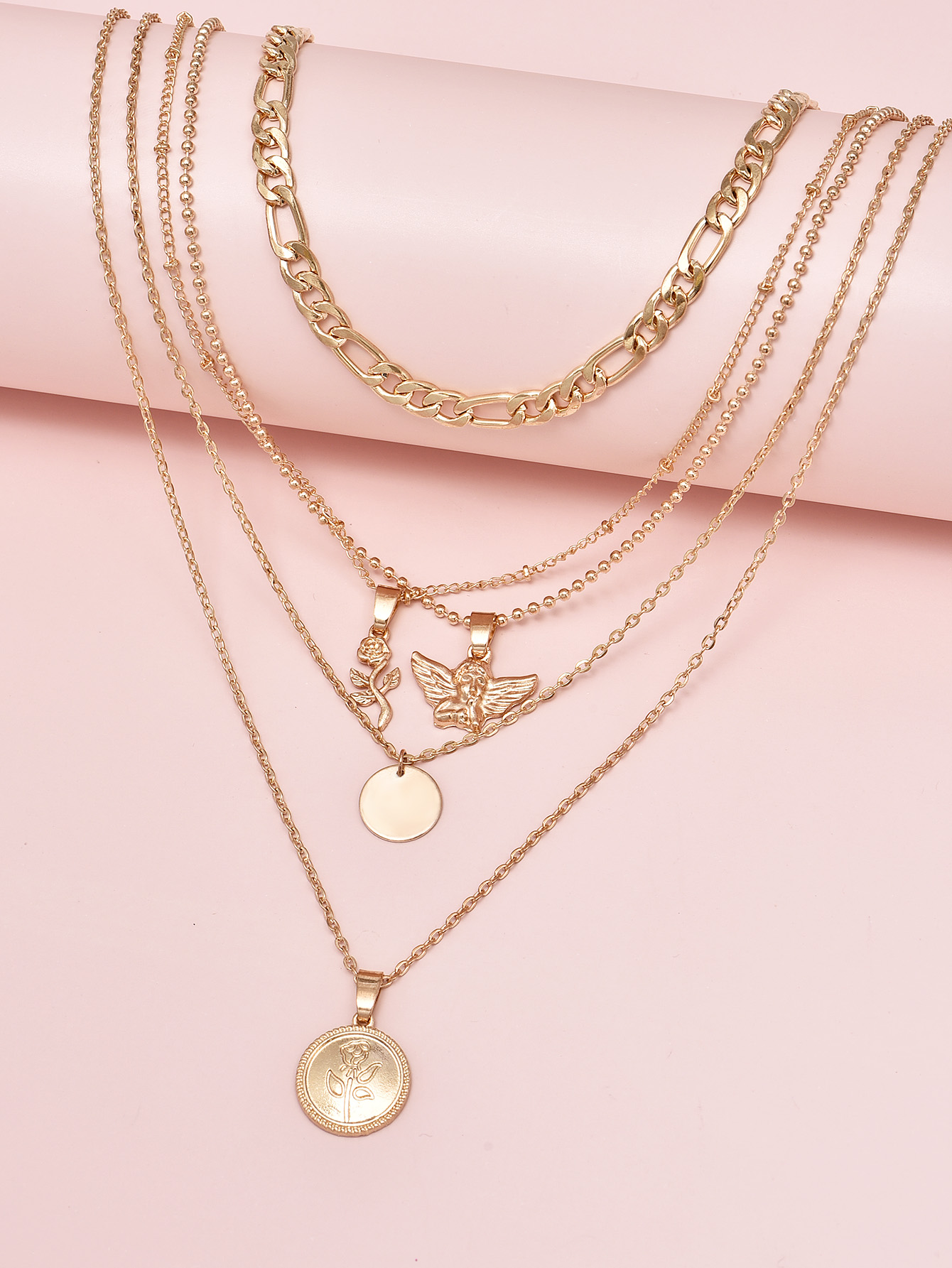 Angel portrait rose flower pendant multilayer womens necklace combination set wholesale nihaojewelry NHAJ253254