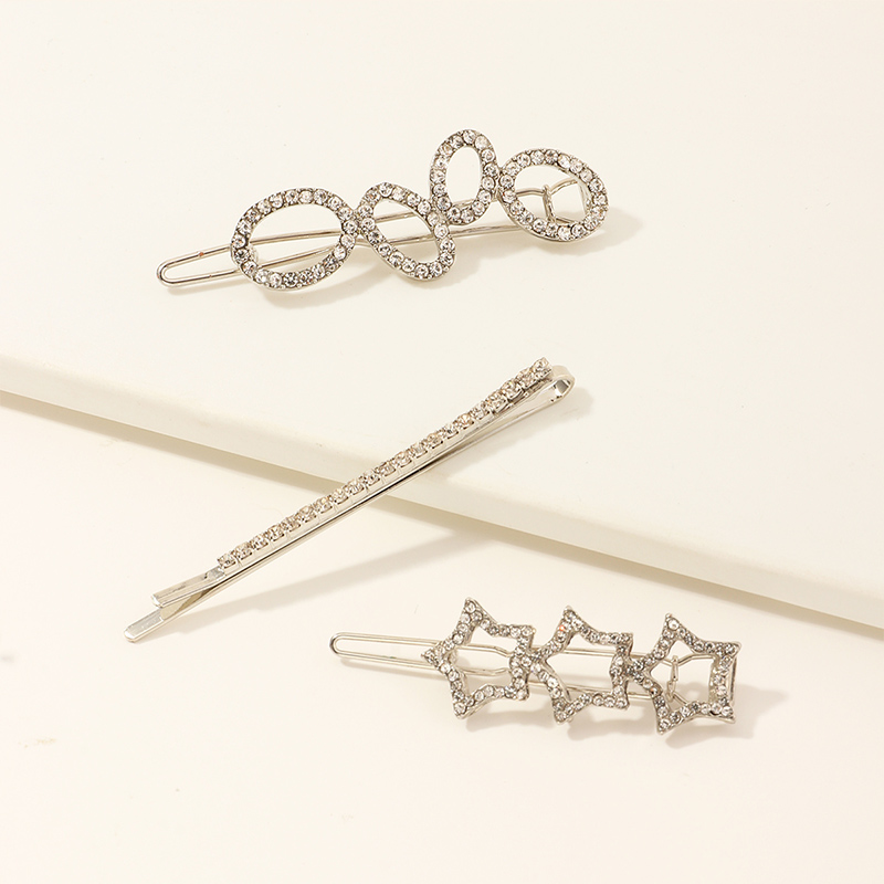 3 sets of silver five-pointed star hairpins NHNU261960