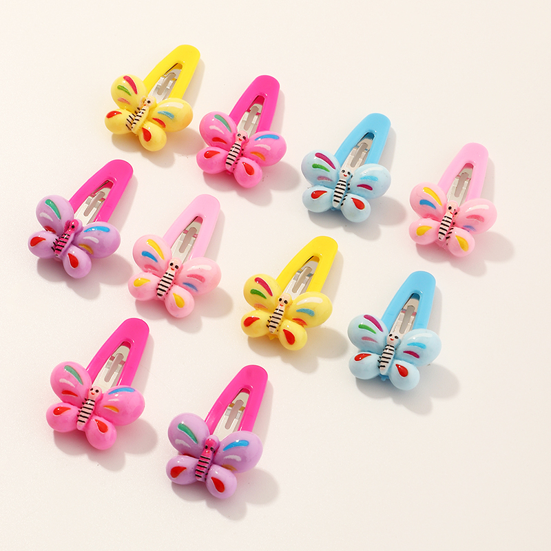 fashion simple mixed color butterfly hair clips set  NHNU261955