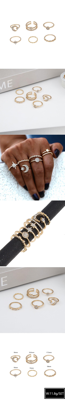 fashion metal wild three-star six-piece ring set  NHSC261950