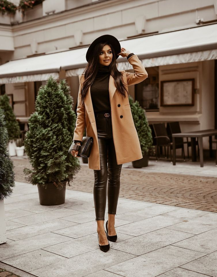 autumn and winter solid color lapel midlength button woolen coat jacket women NHWA264693