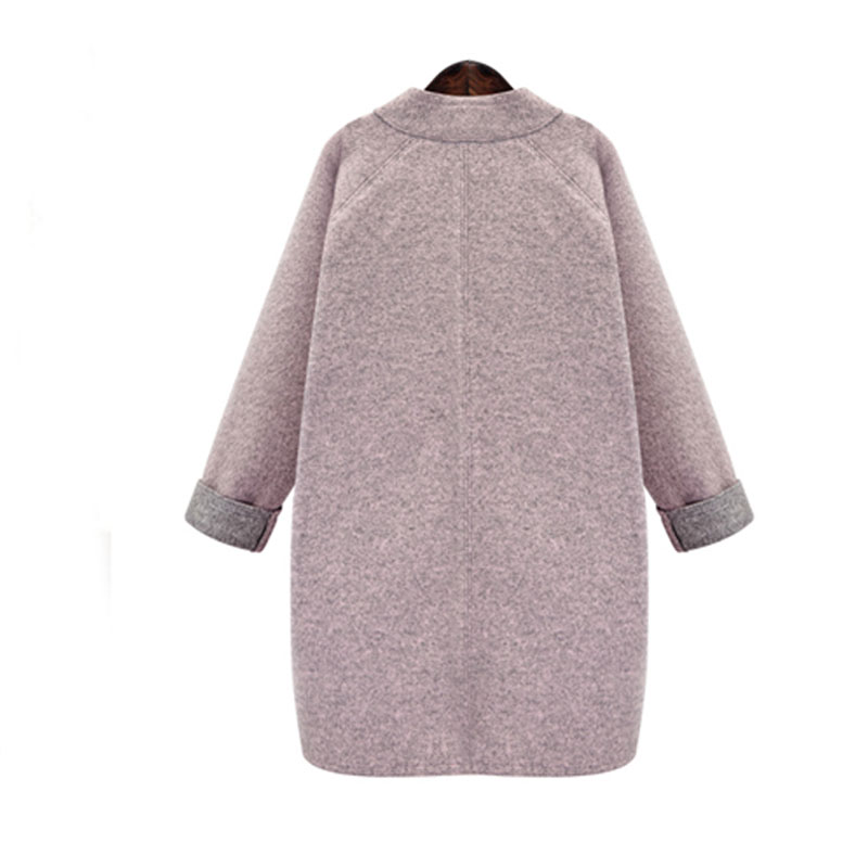 plus size women's loose and simple colored woolen coat NHJC264509