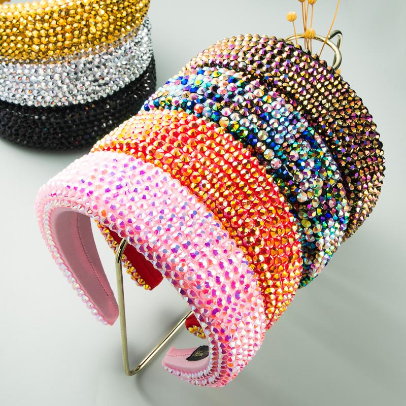diamond 4.5cm wide brim headdress thickened sponge solid color hairband art headband NHLN264701
