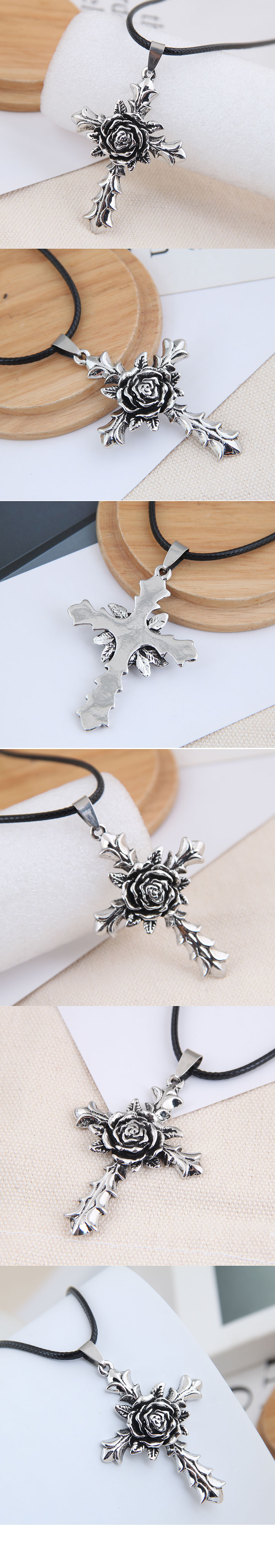 New fashion retro simple cross flower exaggerated alloy necklace NHSC254001
