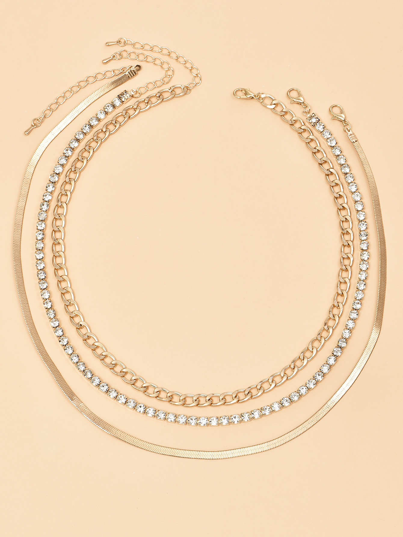 Popular alloy heavy metal chain womens multilayer necklace   NHAJ254156