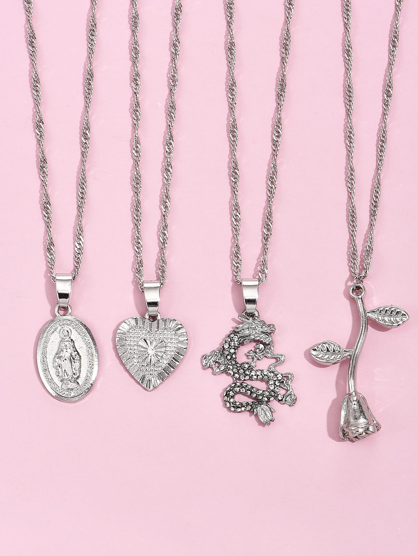 fashion square rose love angel pendant fashion womens necklace wholesale NHAJ255265