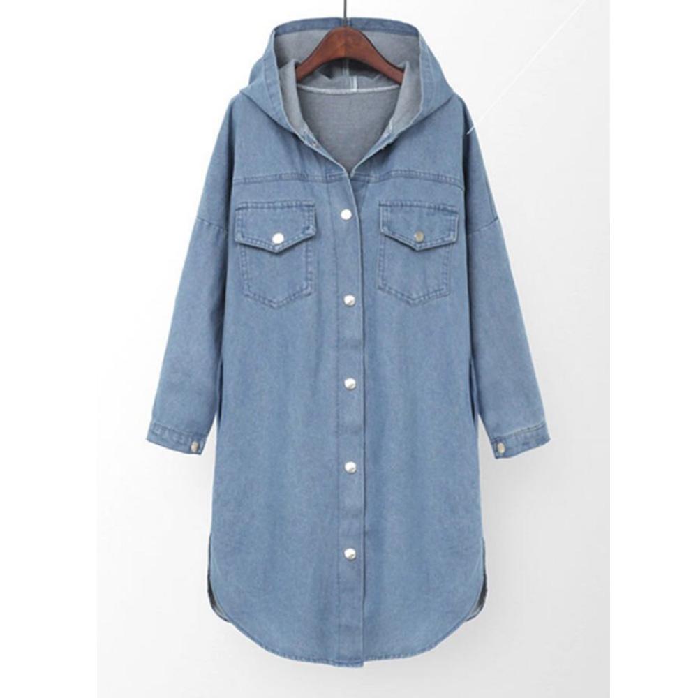 spring new plus size women's loose and versatile hooded denim jacket wholesale NHJG255869