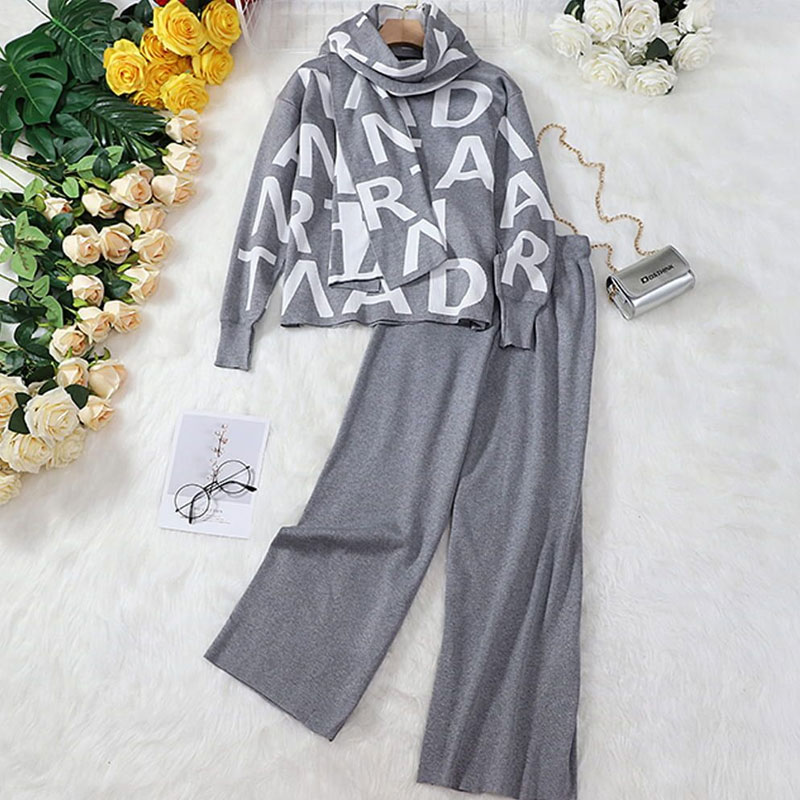 fashion trendy knitted top wide-leg pants suit NHJC307311