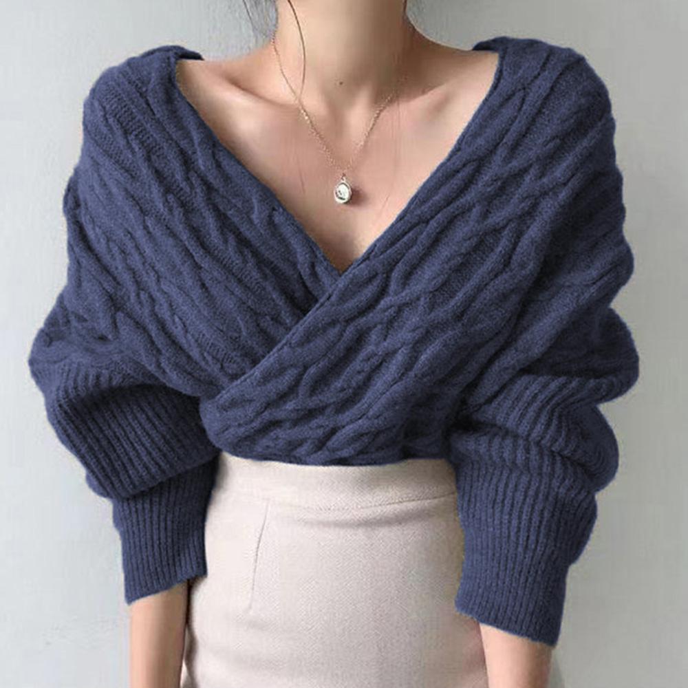 new cross V-neck sexy base cable knit sweater NHJG307278
