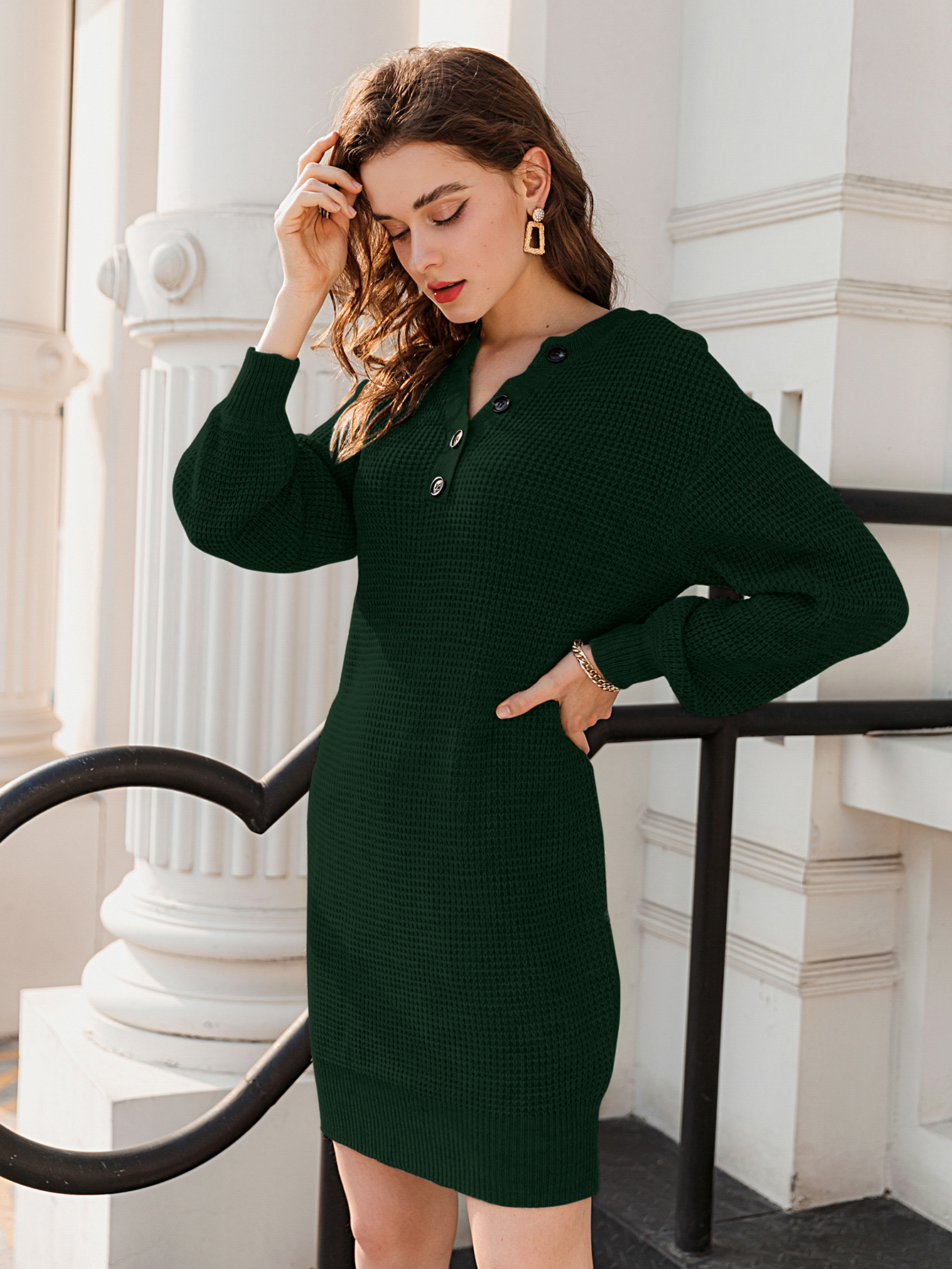fashion solid color button short dress NHDE309227