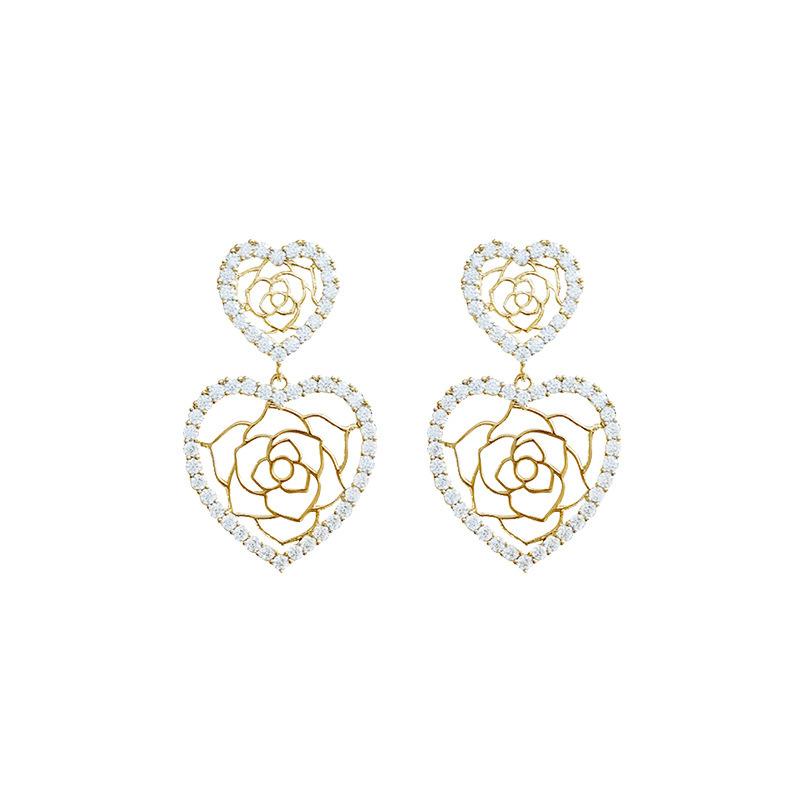 925 Silver Needle Diamond Hollow Flower Earrings NHQC311438