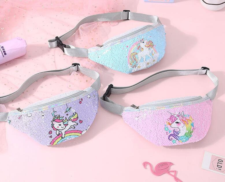 leisure sports unicorn print sequin cartoon waist bag NHGO304135