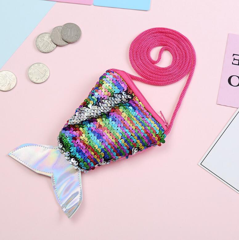 Children's diagonal fish tail sequin coin purse  NHGO304132