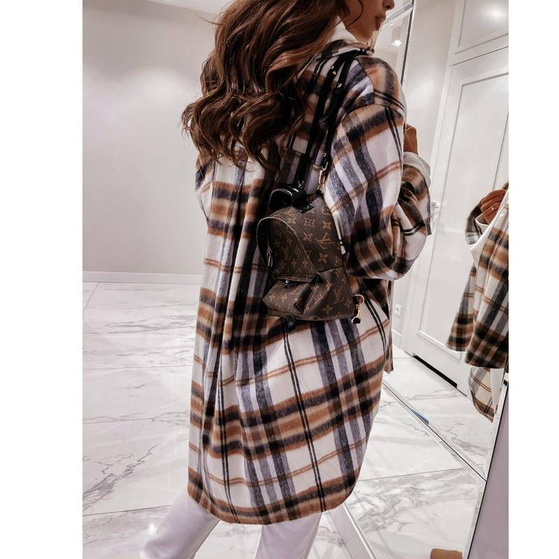 Autumn and winter women39s longsleeved plaid print lapel allmatch shirt jacket NHWA304614