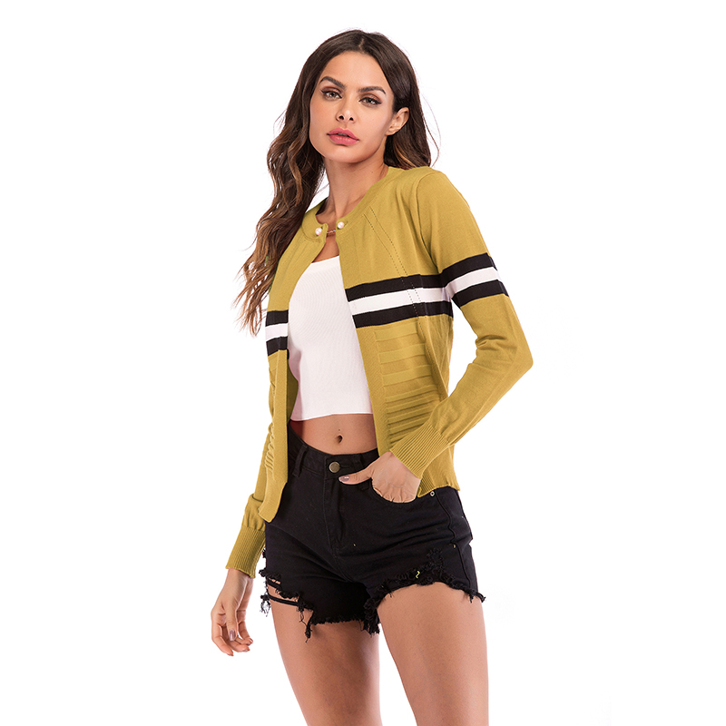 fashion striped knitted cardigan jacket NHEK305209