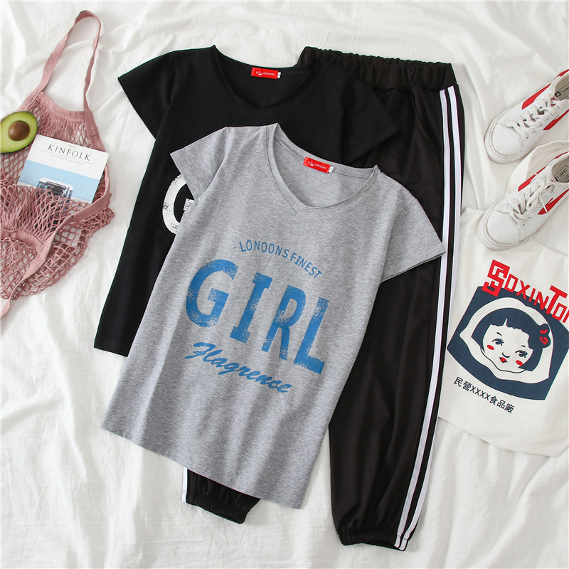 fashion simple loose new T-shirt pants two-piece suit NHUO307327