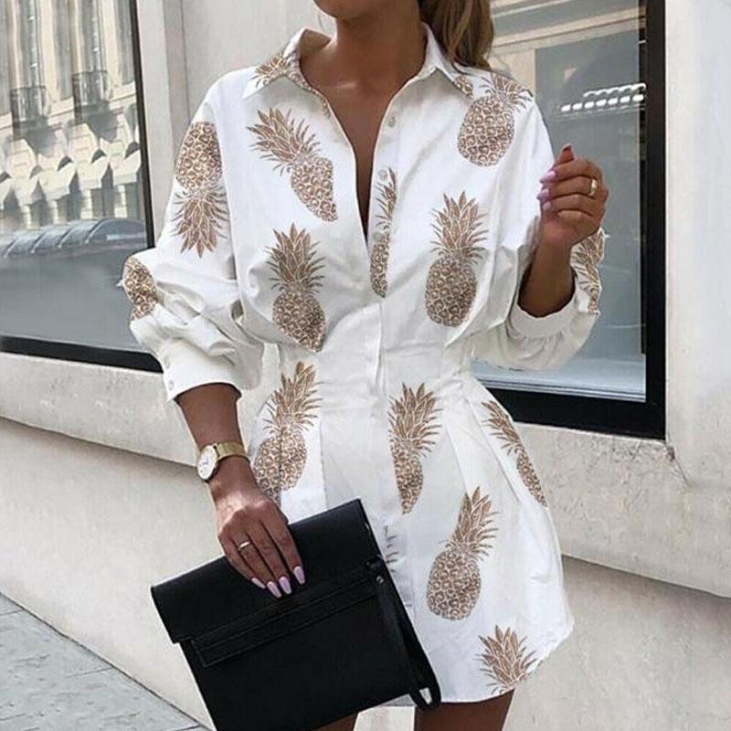 fashion printed waist shirt dress NHUO316271