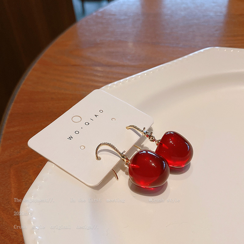 Fashion Diamond Red Cherry Earrings NHQC316586
