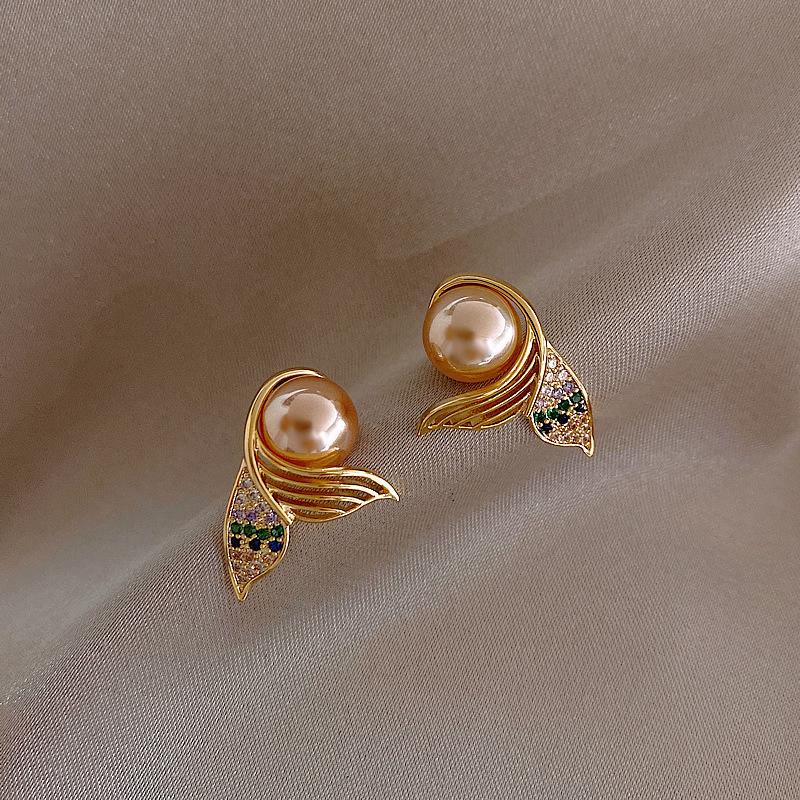 925 silver needle mermaid tail pearl earrings NHQC316585