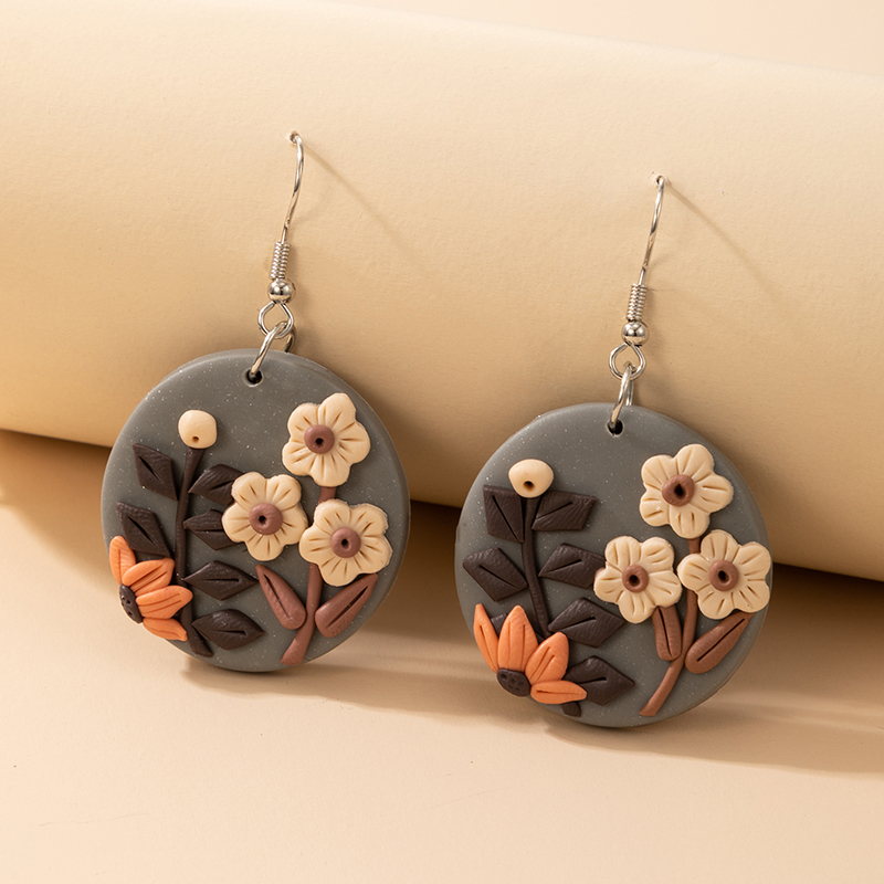 new creative round colored flowers soft clay earrings NHGY323311