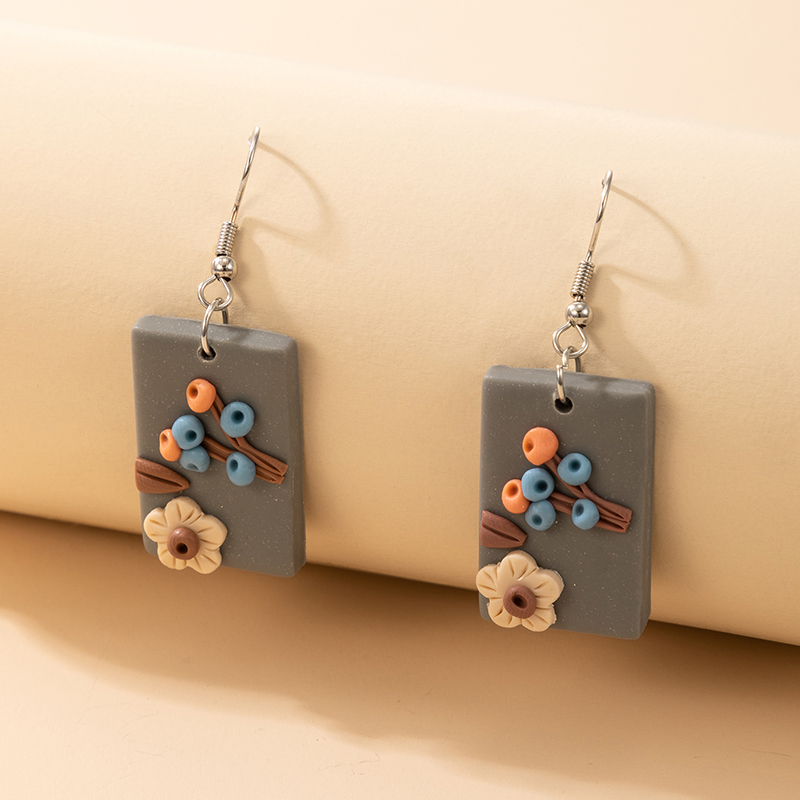 new Bohemian square colored flower pottery earrings NHGY323308