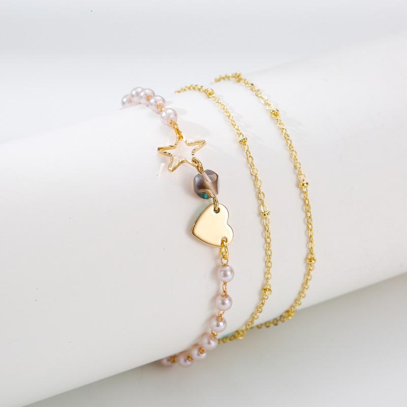 Fashion hollow fivepointed star love imitation pearl bracelet set NHQC319057