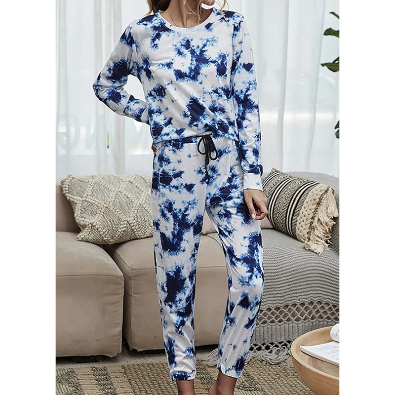 Autumn and winter women39s printed tiedye longsleeved round neck tie casual home set NHWA327563
