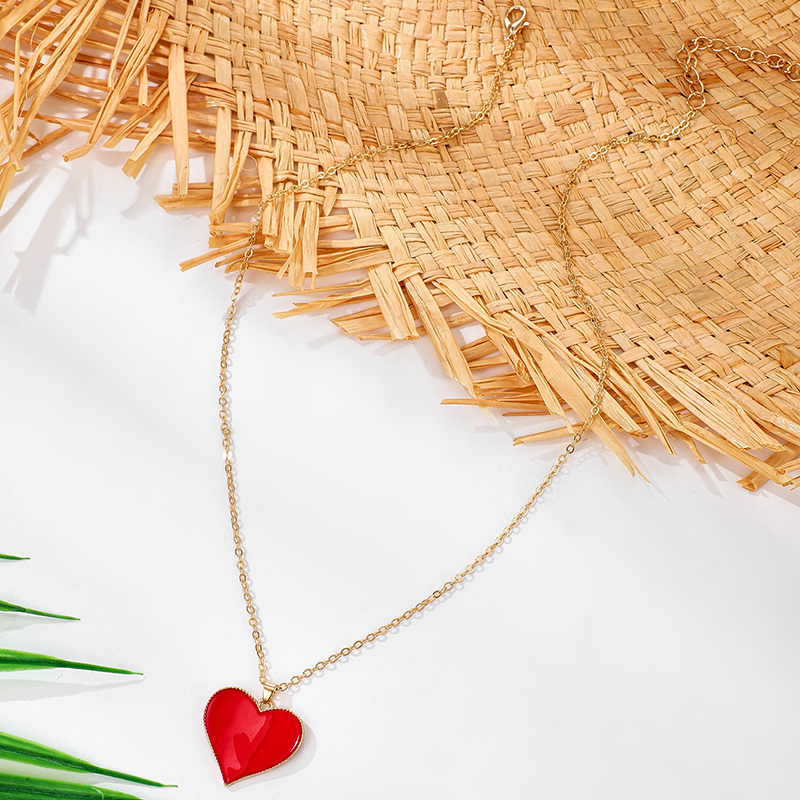 simple fashion peach heart pendant necklace NHGY327634