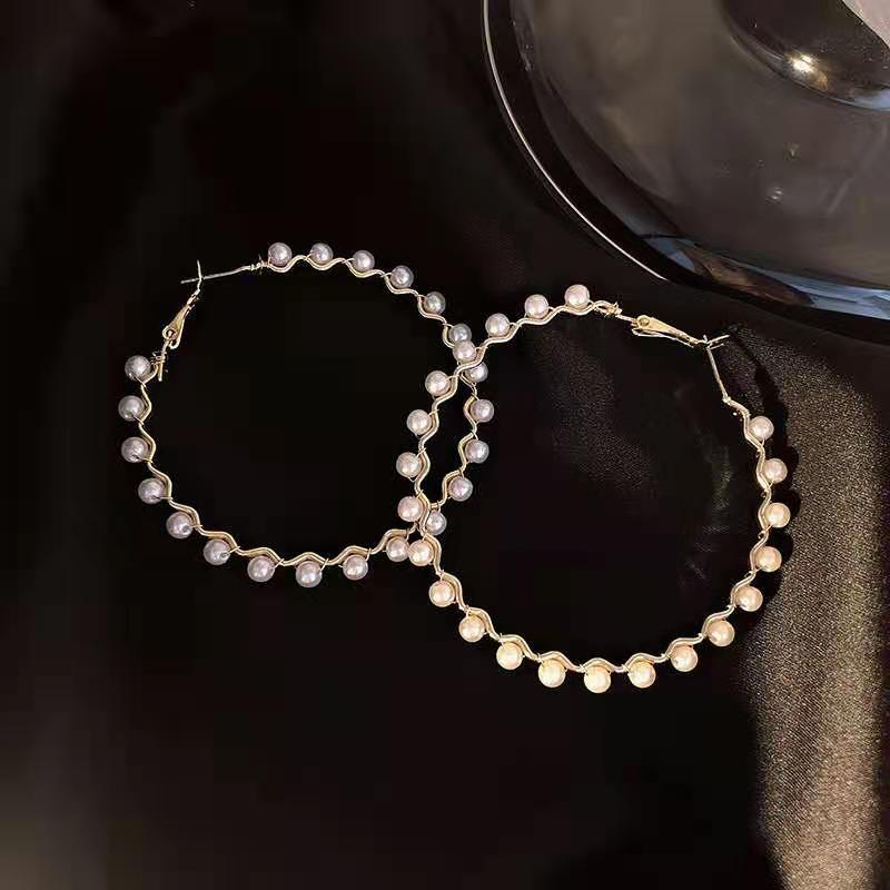 fashion simple pearl hoop earrings NHOT330030
