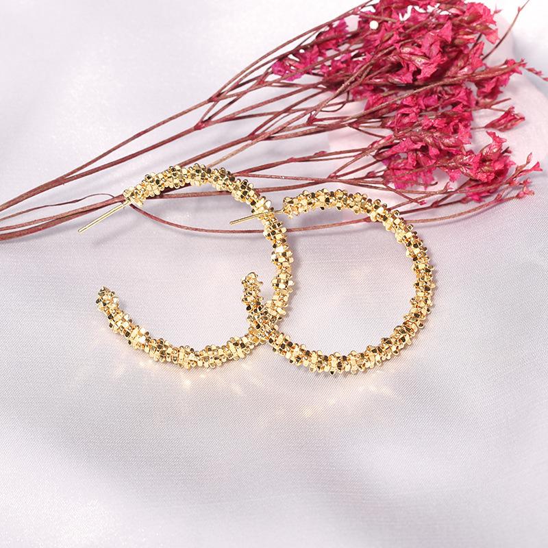 Retro metal round hoop big hoop earrings NHQC331049