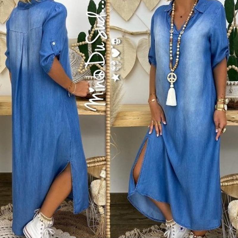 new fashion loose Vneck solid denim dress NHWA335844