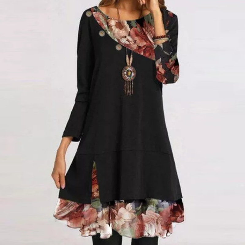 fashion loose chiffon print stitching dress NHWA335830