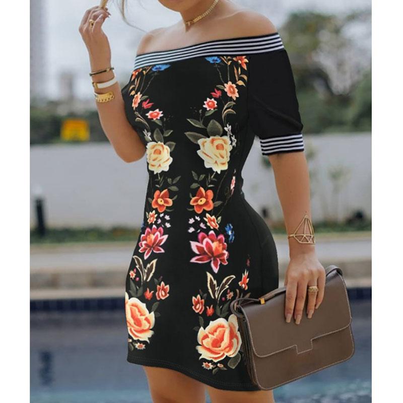new style shoulder print sexy dress NHJG334478