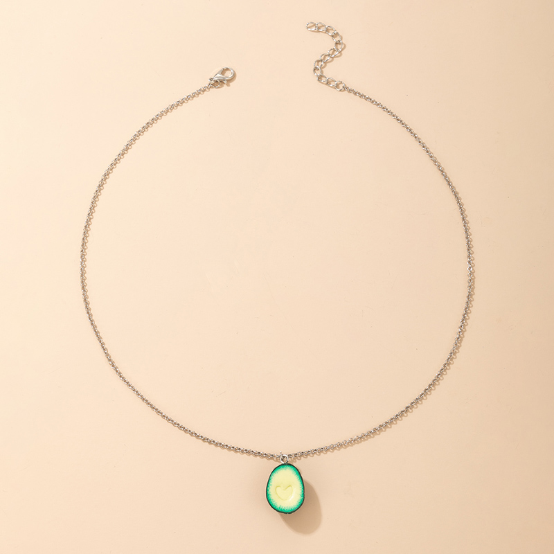 Simple Avocado Pendant Necklace NHGY335794