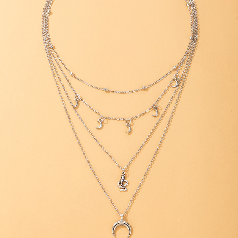 New Simple Snake Shape Moon Pendant Four Layer Necklace NHGY335787