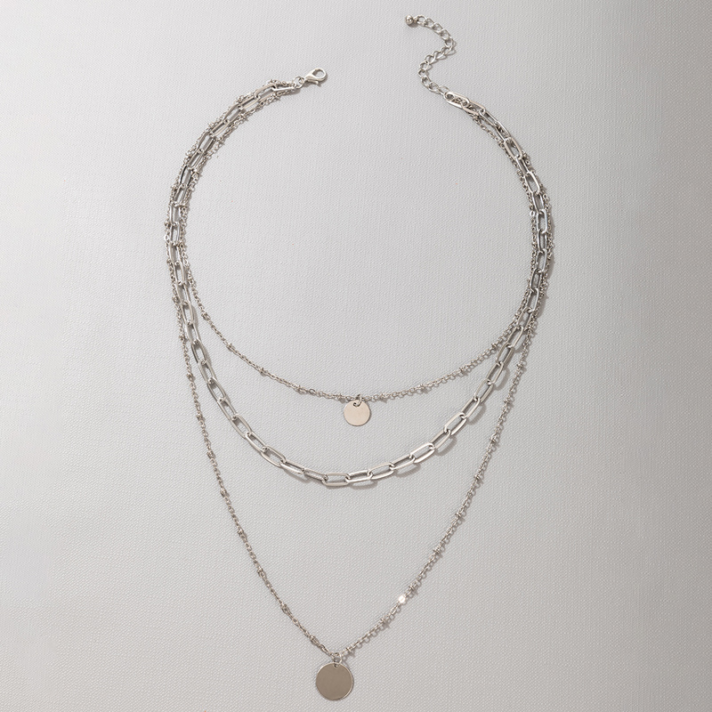 simple threelayer necklace NHGY335780