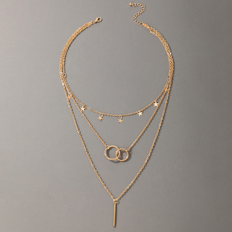 simple star circle multilayer pendant necklace NHGY336212