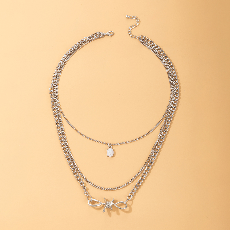 new simple pearl alloy knotted necklace NHGY336206