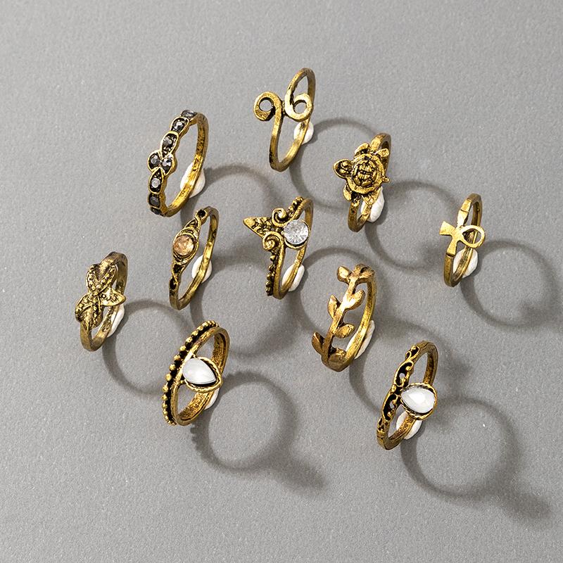 Retro Turtle Starfish Crown Leaf Antique Gold Ring 10Piece Set NHGY336202