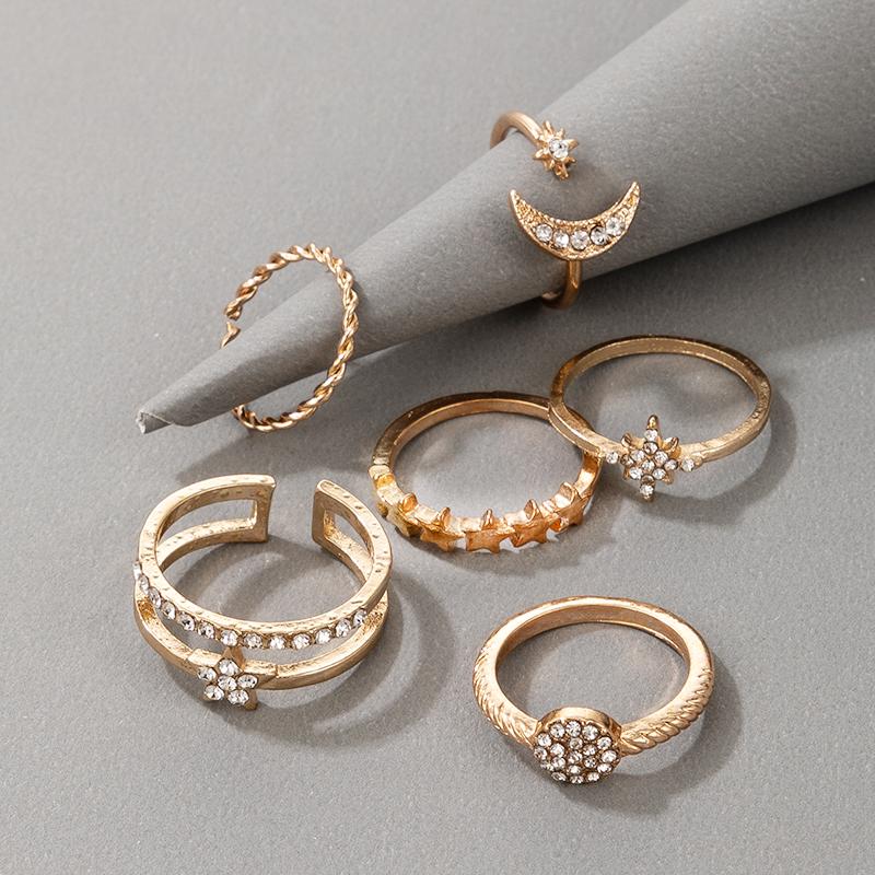 new fashion diamond twist star 6piece ring NHGY336199