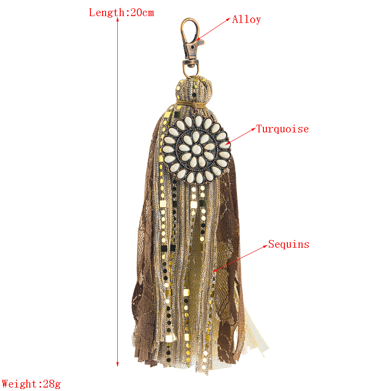 alloy inlaid leather tassel keychain NHLN335636