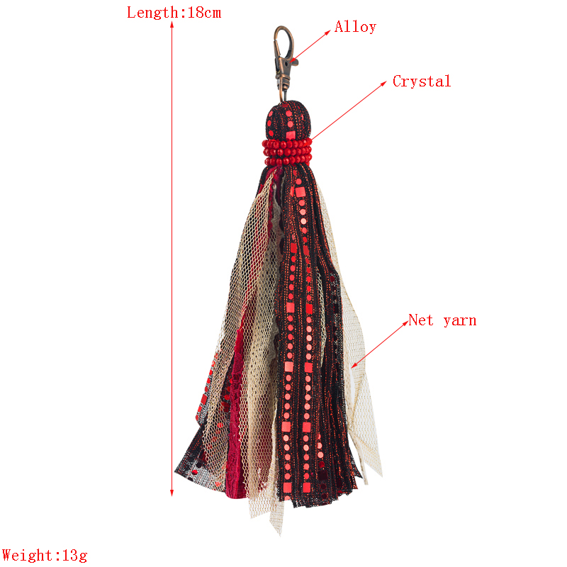 bohemia lace sequins artificial leather tassel keychain NHLN335630