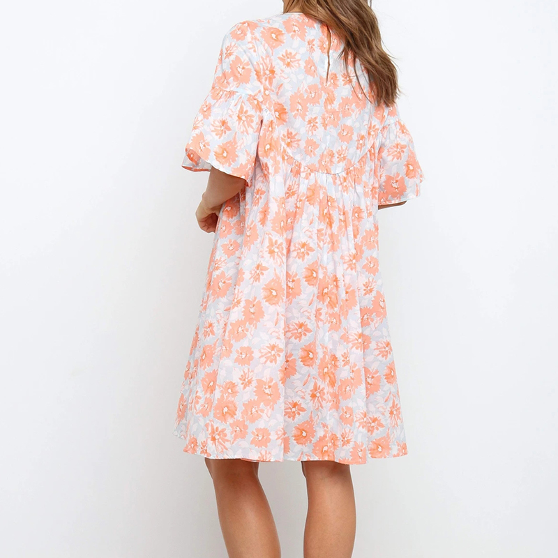 Korean print pullover round neck dress NHKO336789